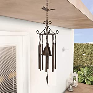MOCOME Butterfly and Tubes Wind Chime with Bell Outdoor Cast Iron Windchimes Metal Antique Hanging Decor for Outside Garden(Rusty)