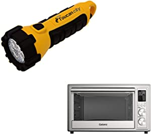 Toucan City LED Flashlight and Galanz 1.1 cu. ft. 1800 Watt 6-Slice Stainless Steel Toaster Oven with Convection, Air r and Rotisserie GT12SSDAN18
