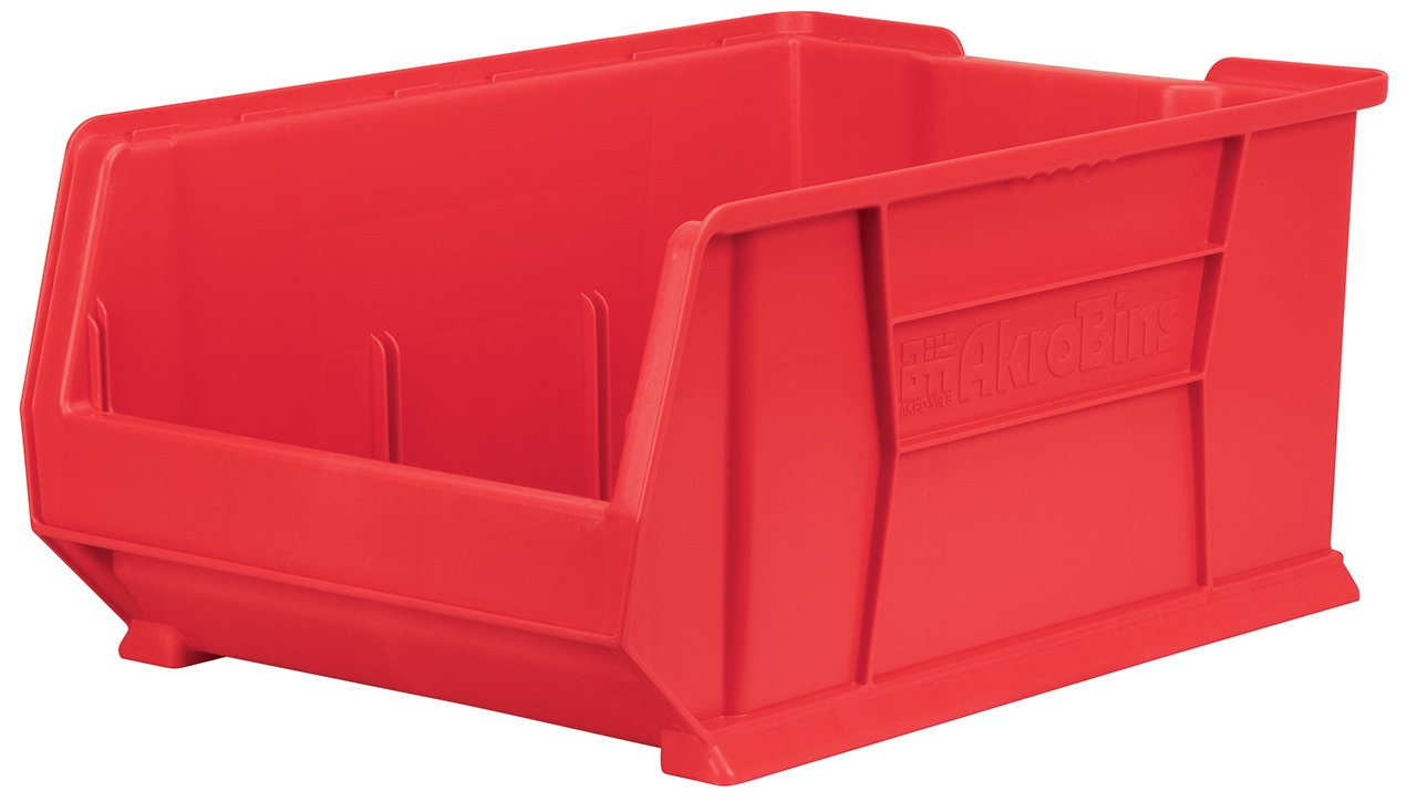 Akro-Mils 30288 Super Size Plastic Stacking Storage Akro Bin, 24-Inch D by 16-Inch W by 11-Inch H, Red