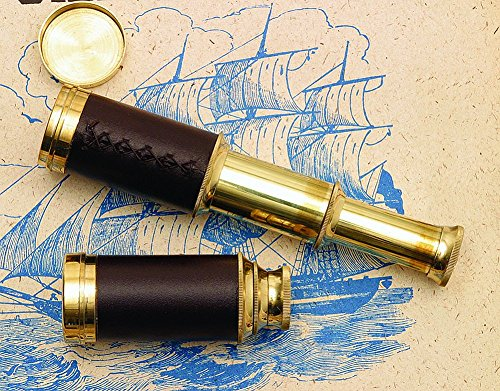 Nautical Pocket Telescope Pirate Spyglass - Brass & Leather 3