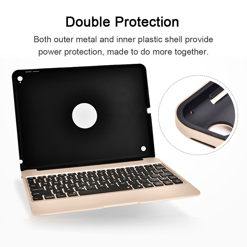 YOUCable iPad Pro 9.7 iPad Air 2 Keyboard Bluetooth 7-color LED Backlit Aluminum Slim Wireless Keypad with Built-in 2800mAh Power Bank for iPad Pro 9.7 / iPad Air 2 (gold) by YOUCable (Image #4)