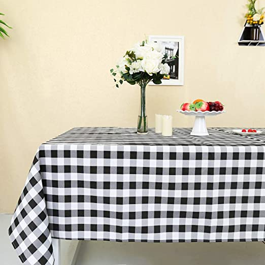 """Green White Checkered 54/"""" Square Polyester Tablecloth Picnic Country Linens"""