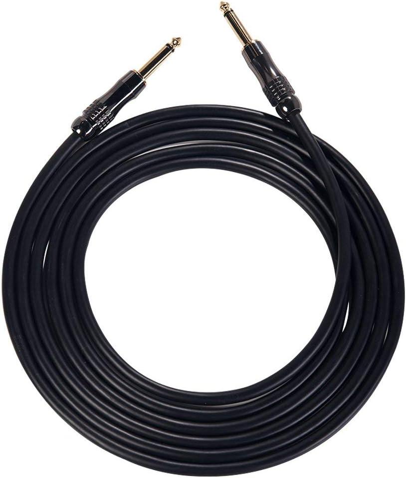 Rayzm cable para guitarra,5m de cable para guitarra/bajo,calidad profesional,sin ruido. Cable para escenario y estudio, 6,35mm de cable con conectores dorados (Cobre Tapones con Oro Jacks)