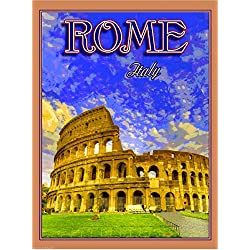 Rome Italy The Coliseum Italian Europe European Art Travel Advertisement Collectible Wall Decor Poster Print. Measures 10 x 13.5 inches