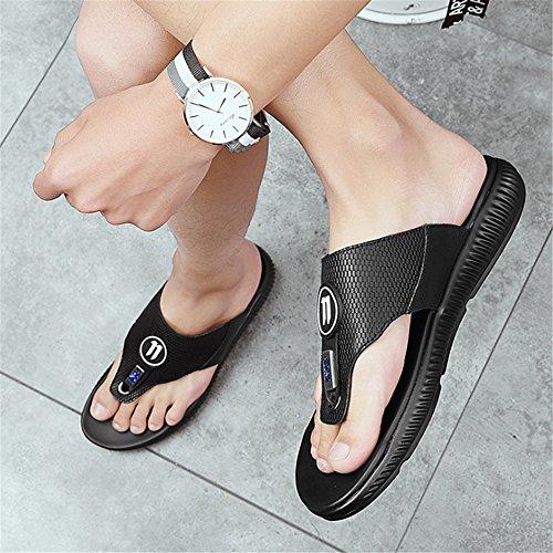 De 42 Zapatos Cuero Hombres Black White Color Sandalias Zapatos Black para White 2 Outdoor 3 tamaño Casual De EU Verano And Beach Zapatillas Negros Respirables Wangcui and xwOqfYRY