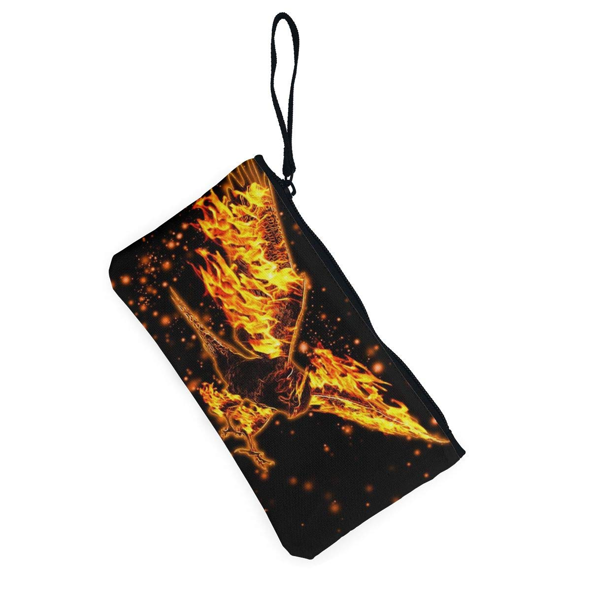 YUANSHAN Fire Eagle Unisex Canvas Coin Purse Change Cash Bag Zipper Small Purse Wallets with Handle