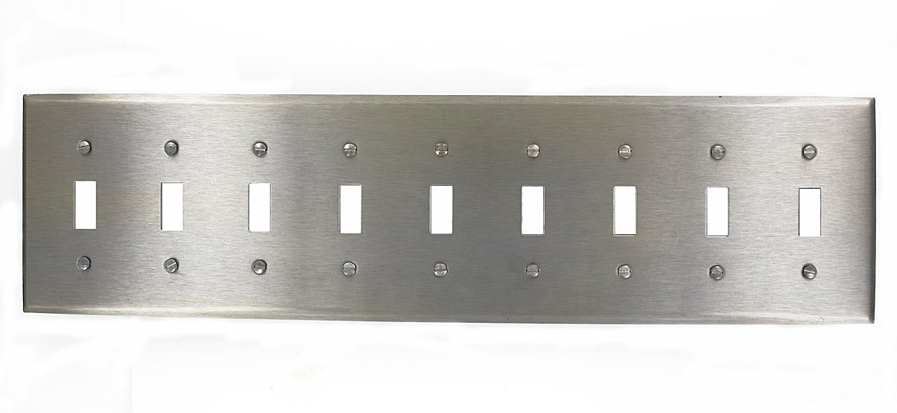 Leviton 84049-40 9-Gang Toggle Device Switch Wallplate, Device Mount, Stainless Steel