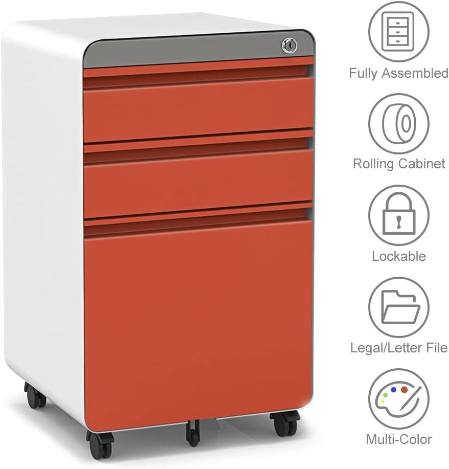 3-Drawer Filling Cabinet, Metal Vertical File Cabinet with Hanging File Frame for Legal & Letter File Install-Free Anti-tilt Design and Lockable System Office Rolling File Cabinet-Orange