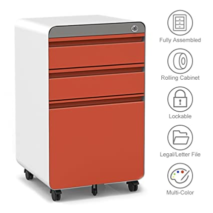 3 Drawer Filling Cabinet, Metal Vertical File Cabinet With Hanging File  Frame For Legal