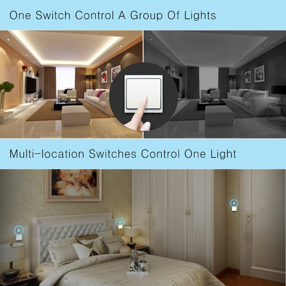 Acegoo Kinetic Light Switch Self Powered Transmitter No Wiring Different Lights And Switches On One Circuitfanlight3switchesjpg Battery Wifi Required Work With Receiver Remote Control House Lighting Appliances