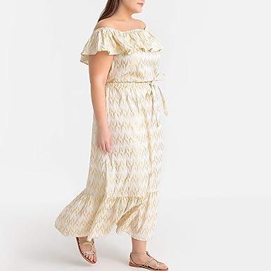 1b1c98f87f8 La Redoute Castaluna Womens Jacquard Ruffled Off The Shoulder Maxi Dress  Other Size US 28 FR