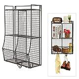Wall Mounted / Collapsible Black Metal Wire Mesh Storage Basket Shelf Organizer Rack w/ 2 Hanging Hooks