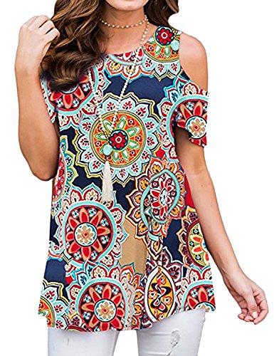 Ezcosplay Women Floral Print Round Neck Cold Shoulder Short Sleeve Tops T-Shirt
