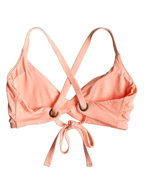 Roxy Womens Solid Beach Classics Fixed Tri Swimsuit Bikini Top
