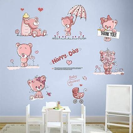 Astonishing Amazon Com Decalmile Pink Teddy Bear Flowers Wall Decals Download Free Architecture Designs Rallybritishbridgeorg