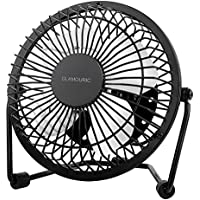 Metal Desk Fan-Glamouric Small Table Fan 4 Inch Mini Portable Size USB Powered Quiet Airflow Personal Cooler Air Circulator 360° Rotation for Office Home Study Travel (Black)
