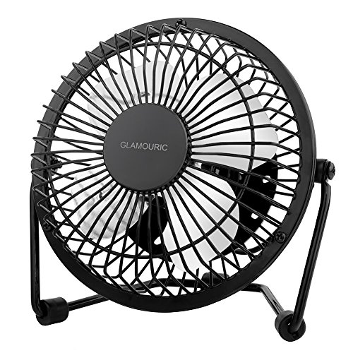 6 Inch USB Table Fan-Glamouric Metal Office Desktop Fan Quiet Operation 360 Degrees Angle Adjustable Nice Airflow Personal Mini Cooling Device (Black)
