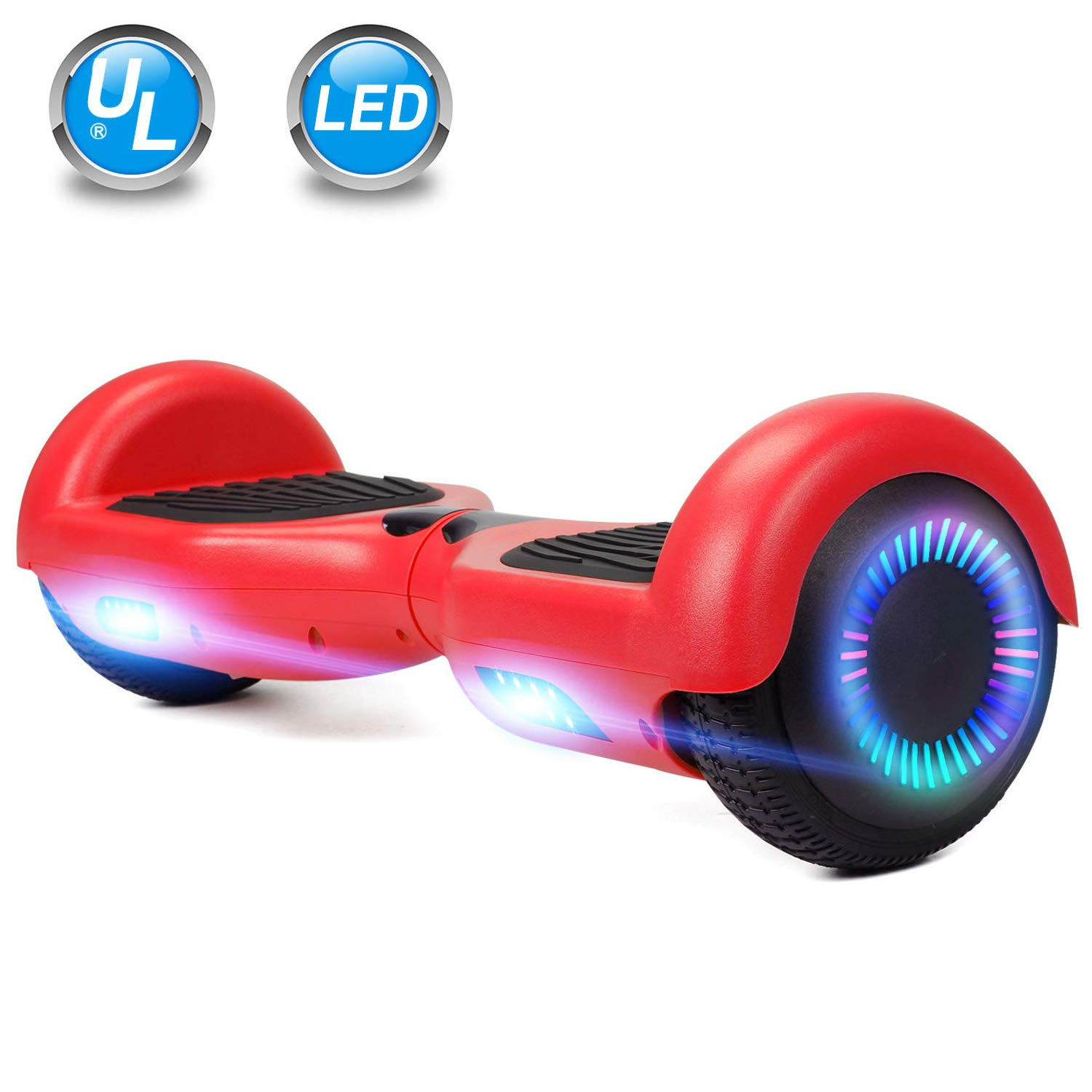 UNI-SUN 6.5'' Hoverboard for Kids, Two Wheel Self Balancing Electric Scooter, Hoverboard with LED Lights for Adults, UL 2272 Certified Hover Board(Classic Red)