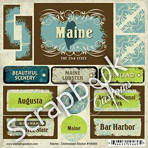 Scrapbook Customs - United States Collection - Maine - Distressed Cardstock Stickers by Scrapbook Customs B004VSHQE0