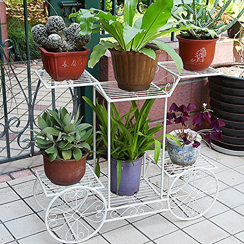 Dazone Metal Cart Flower Rack Display Garden Tree Home Decor Patio Plant Stand Holder by DAZONE
