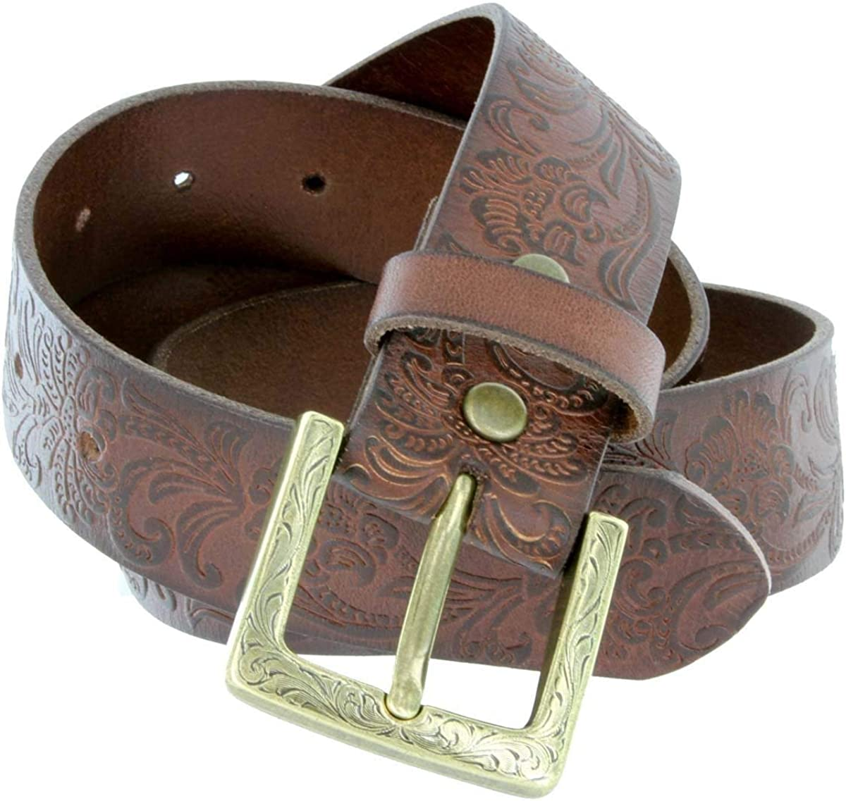 Brown Color Cute Abigale Womens Western Engraved Buckle and Full Leather Cowgirl Casual Belt