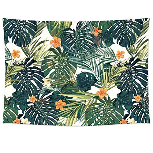 - QEES Tropical Palm Leaves Tapestry Green Leaf Orange Flower Decor Pattern Light-Weight Polyester Fabric Hanging Wall Decor Bedroom Living Room Dorm Wall Hanging(78