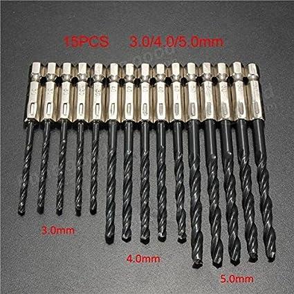 15Pcs 3,4,5mm QUALITY HSS TWIST DRILL BIT SET For Plastic// Wood// Metal DIY