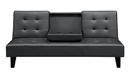 Superbe DHP Julia Convertible Futon With Cup Holder, Multifunctional, Converts Into  A Bed, Black