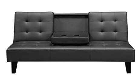 DHP Julia Convertible Futon With Cup Holder, Multifunctional, Converts Into  A Bed, Black