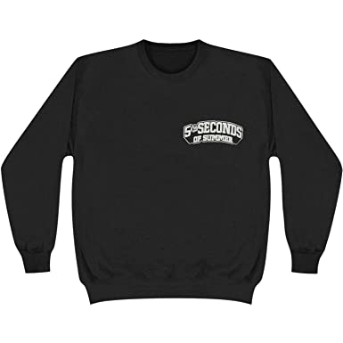 34c26c21315 5 Seconds Of Summer Skull Logo Crewneck Pullover Sweatshirt - Black (Small)