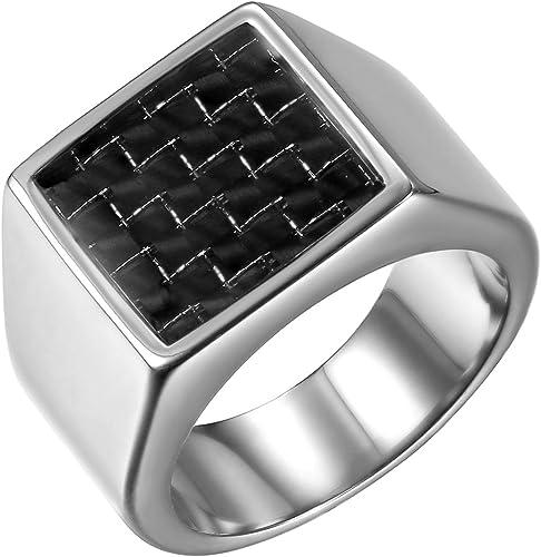 JewelryWe Bague Homme Chevali/ère Sceau Poli Motard Anneau Acier Inoxydable Fantaisie Bijoux Cadeau