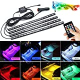Car led light strips Interior Lights 72 LED Multicolor Music LED Underdash Lighting Glow Neon Decoration Lighting Kit with Sound Active Function and Wireless Remote Control Including Car Charger RGB LED Interior Neon Light.(full colors,72LEDS)