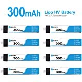 BETAFPV 8pcs 300mAh 1S Lipo Battery HV Battery 30C 4.35V with JST-PH 2.0 Powerwhoop Connector for Tiny Whoop Blade Inductrix Micro Mini Drone