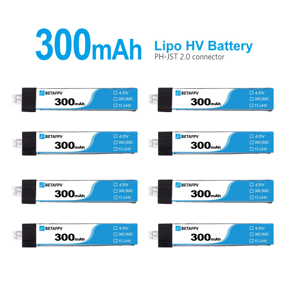 BETAFPV 8pcs 300mAh HV 1S Lipo Battery 30C 4.35V with JST-PH 2.0 Powerwhoop Connector for Tiny Whoop Blade Inductrix