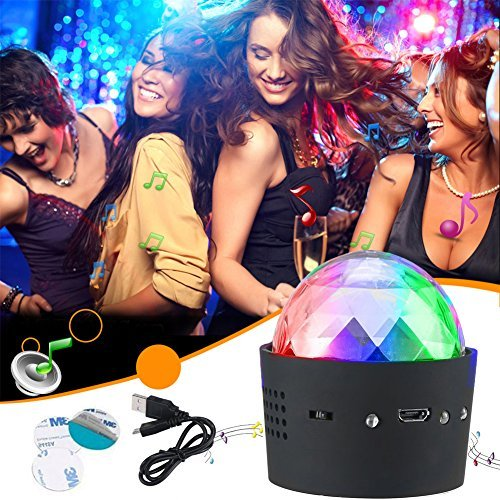Mini Disco Light, YHone Sound Activated Multi-coloured Battery Operated Disco Ball Light,Car Decoration Light , Led Stage Light ,Christmas Lights,Halloween Party Light (Portable Battery -