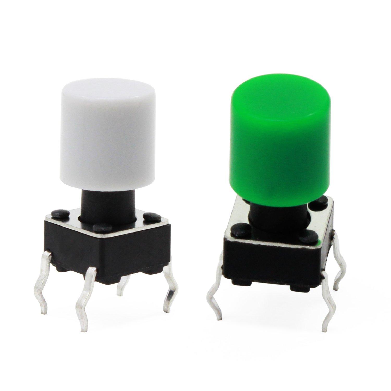 WiMas Tactile Push Button Switch Kit di assortimento di breve durata Micro Momentary con tappi a bottoni colorati 420 PZ