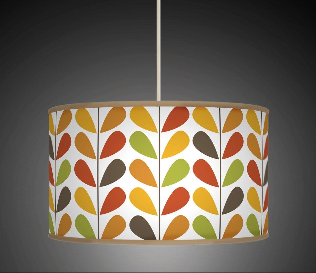 30cm Flower Stem Floral Multi Colour Retro Geometric Handmade Giclee Printed Fabric Lamp Drum Lampshade Floor Ceiling Pendant Light Shade 608
