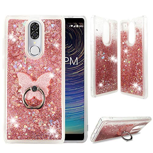 - CoolPad Legacy Clear Case, ZASE Liquid Glitter Sparkle Bling Phone Case for CoolPad Legacy 6.36 inch (Metro,Boost) Cute Protective Cover Waterfall Floating Quicksand w/Phone Ring Holder (Pink Rose)