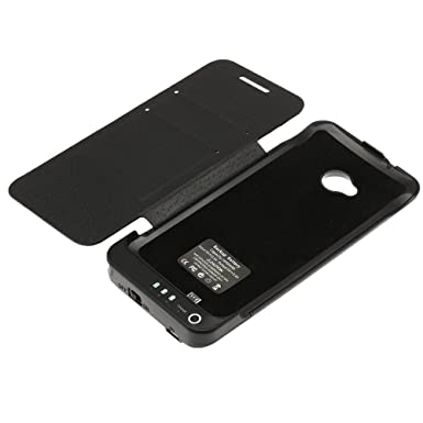 size 40 f453f 9e05a 3800mAh Cubic Texture Power Bank Battery Charger Case w/ Front Leather  Cover and Stand for HTC One M7 801e, Black