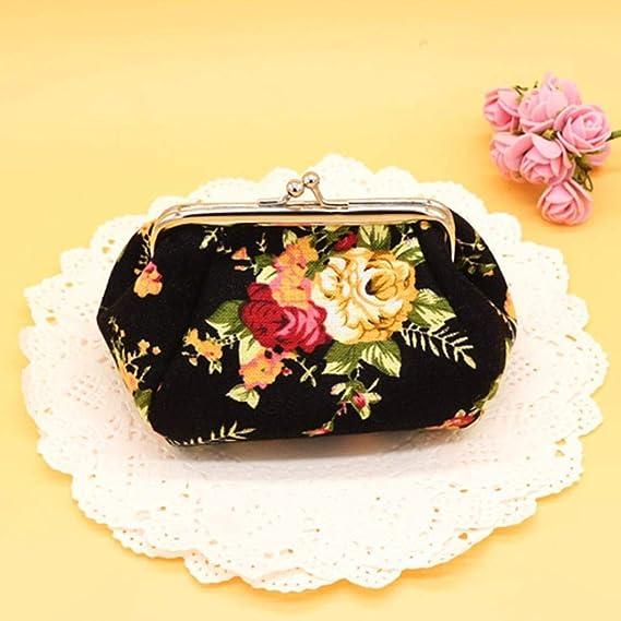 BaZhaHei-Cartera Carteras Mujer Bolso de Embrague del Monedero del Cerrojo de la Cartera de señora Lady Retro Vintage Flower Tarjeta de Crédito Slim de ...