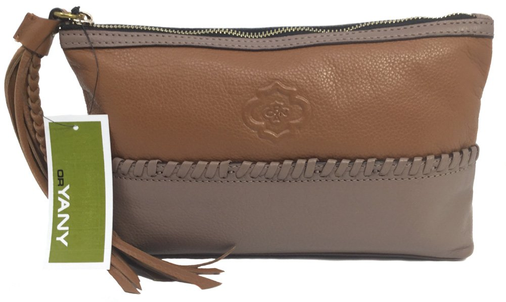 orYANY Alea Pebble Leather Pouch, Mushroom/Tan