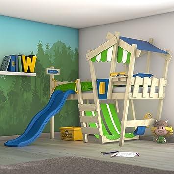 wickey kinderbett mit rutsche crazy hutty hochbett mit dach abenteuerbett mit lattenboden apfelgrn blau - Hausgemachte Etagenbetten Mit Rutsche