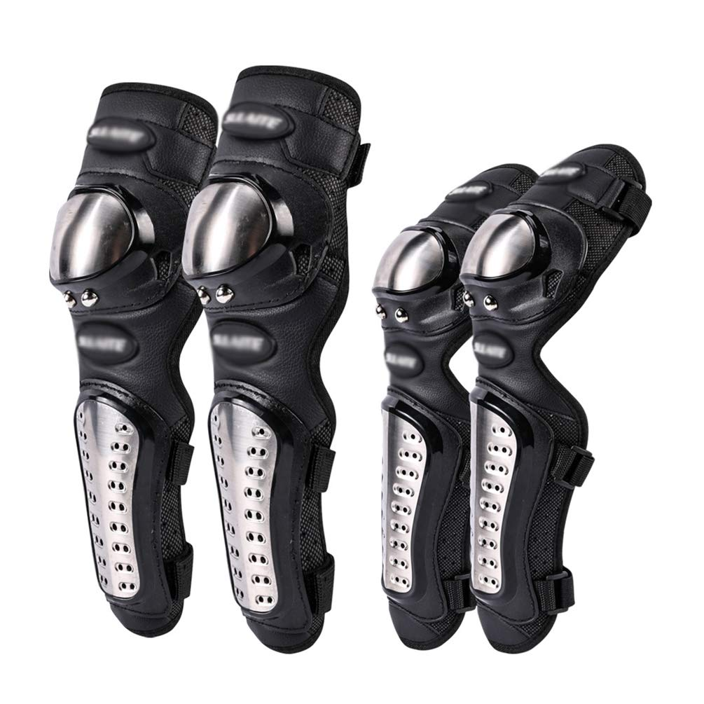 Yuanu 4 PCS Adulti Moto/&Bici Comodo Resistente allusura Acciaio Inossidabile Ginocchiere e Gomitiere Outdoor Ciclismo Motocross Pattinando Sciare Equipaggiamento Protettivo