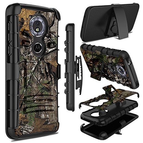 Moto G6 Play Case, Zenic Heavy Duty Shockproof Full-Body Protective Hybrid Case Cover with Swivel Belt Clip and Kickstand for Motorola Moto G6 Play (Nature)