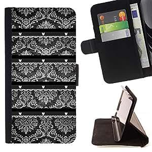 For Samsung Galaxy Note 3 III Case , Wallpaper Viejo Gris Negro Blanco- la tarjeta de Crédito Slots PU Funda de cuero Monedero caso cubierta de piel