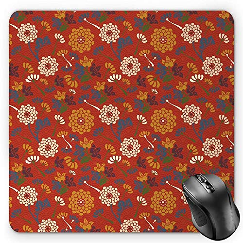BGLKCS Vintage Mouse Pad, Asian Flower Silhouettes on a Half Circle Scale Background Spring Blossom Theme, Standard Size Rectangle Non-Slip Rubber Mousepad, (Spring Theme Circle)
