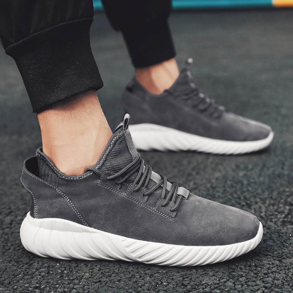 Mens Sport Shoe KUNAW Fashion Lace-Up Lightweight Mesh Breathable Running Shoes Anti-Slip Soft Outsoles Walking Shoes Memory Foam Air Cushion Walking Sneaker Gym for Sport Outdoor