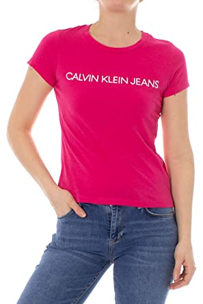 4da3334f3a Calvin Klein Jeans T-Shirt Woman Institutional Logo Slim Fit Tee J20J207940  xs Fuxia Fuchsia