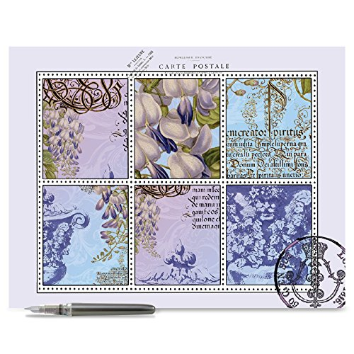 Jumbo Sculptures - Jumbo Mother's Day Card: French Florals Featuring Stamp Block-like images of French Typography, Florals and Sculptural Elements,With Envelope (Extra Large Version: 8.5'' x 11'') J2982JMDG