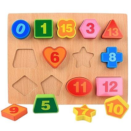 Leoie Wooden Number Figure Alphabet Early Education Puzzle Building Blocks Toy for Children Kids Number Shape